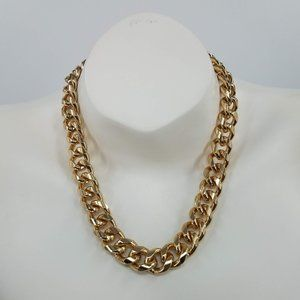 Zara Big Gold Tone Curb Link Chain Necklace